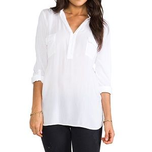 SPLENDID Semi-Sheer Shirt /w Tabbed Rolled Sleeves